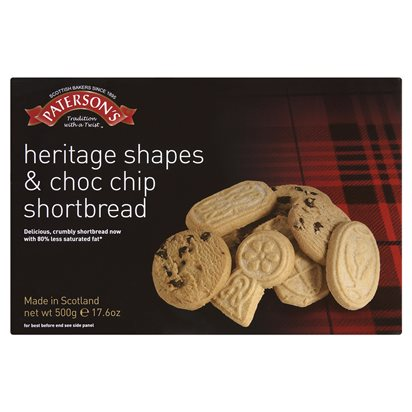 Paterson's Heritage Shapes & Choc Chip Shortbread alt tag